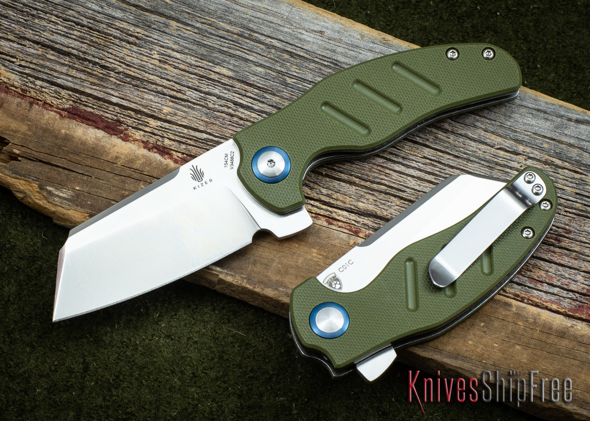 Kizer Cutlery: Mini Sheepdog - Cleaver - Green G-10 - 154CM primary image