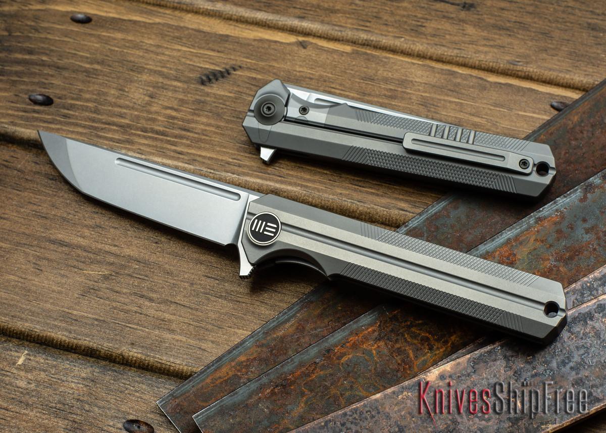 WE Knife: 909C Syncro - Gray Titanium Framelock -  One Piece Integral Frame - CPM S35VN - Stonewash primary image