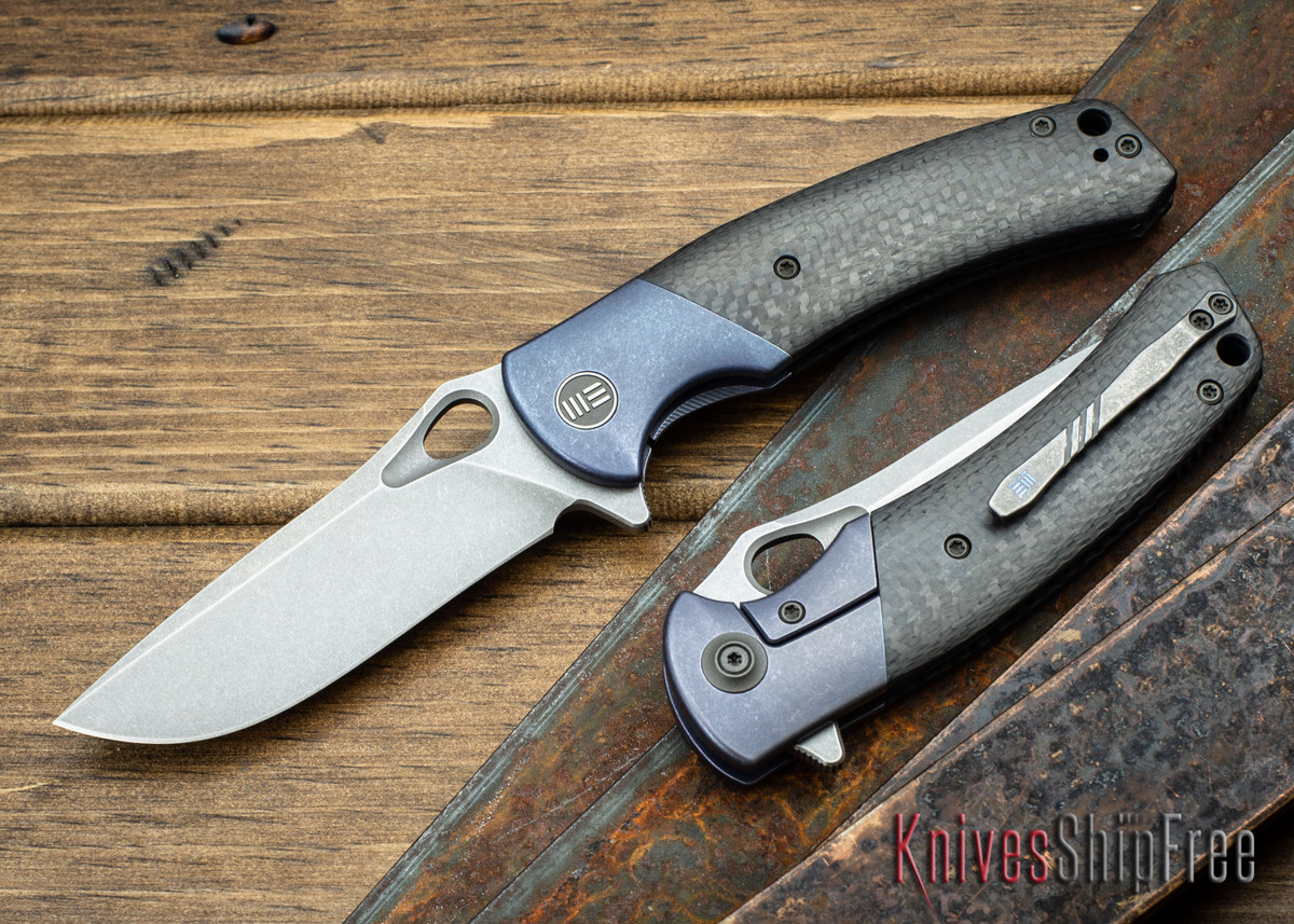 WE Knife: 903 Bishop - Blue Titanium Framelock - Carbon Fiber Inlay - M390 Stonewash Blade primary image
