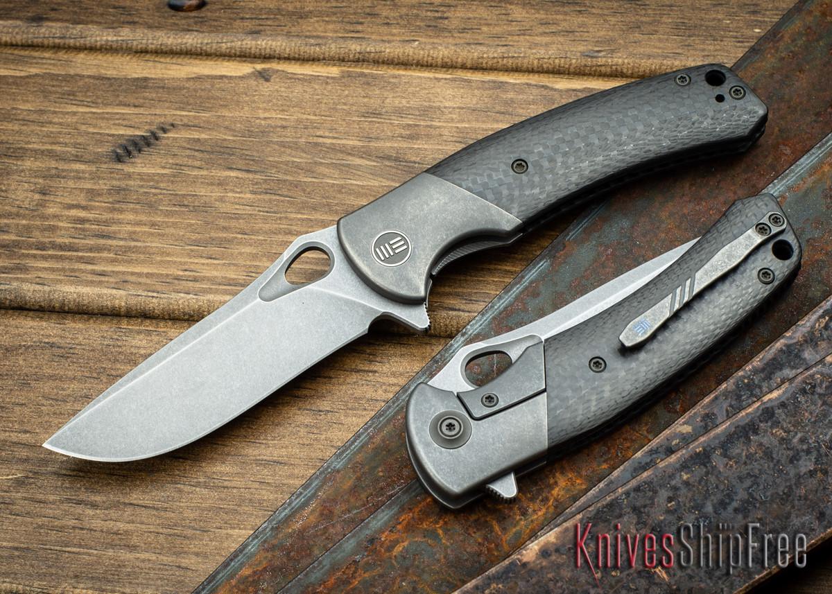 WE Knife: 903 Bishop - Grey Titanium Framelock - Carbon Fiber Inlay - M390 Stonewash Blade primary image