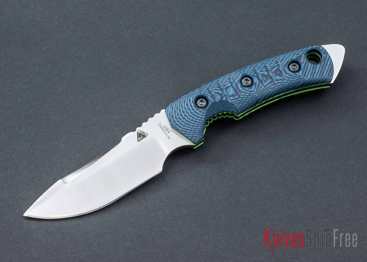FOBOS: Tier-1 Mini - Blue-Black G10 - Green Liner - Satin Finish primary image