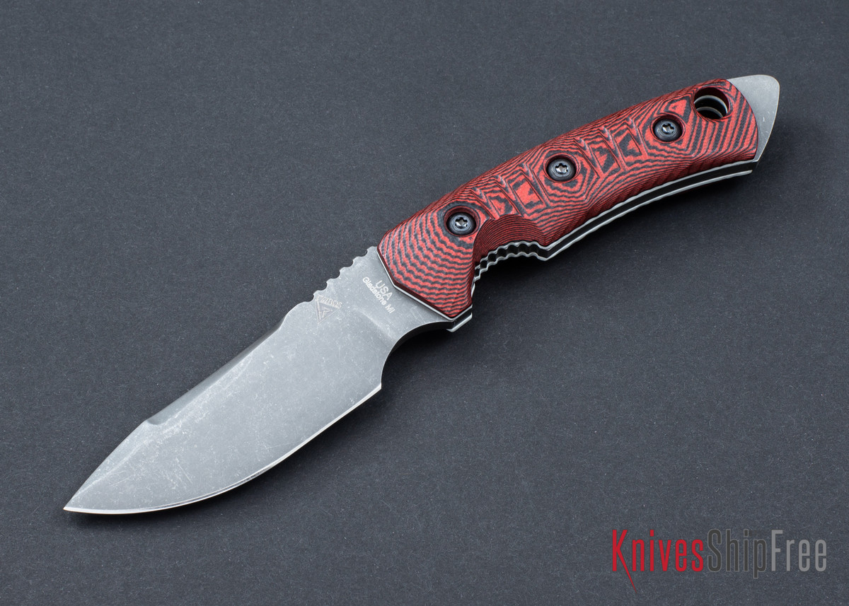 FOBOS: Tier-1 Mini - Red-Black G10 - White Liner - Acid Etch
