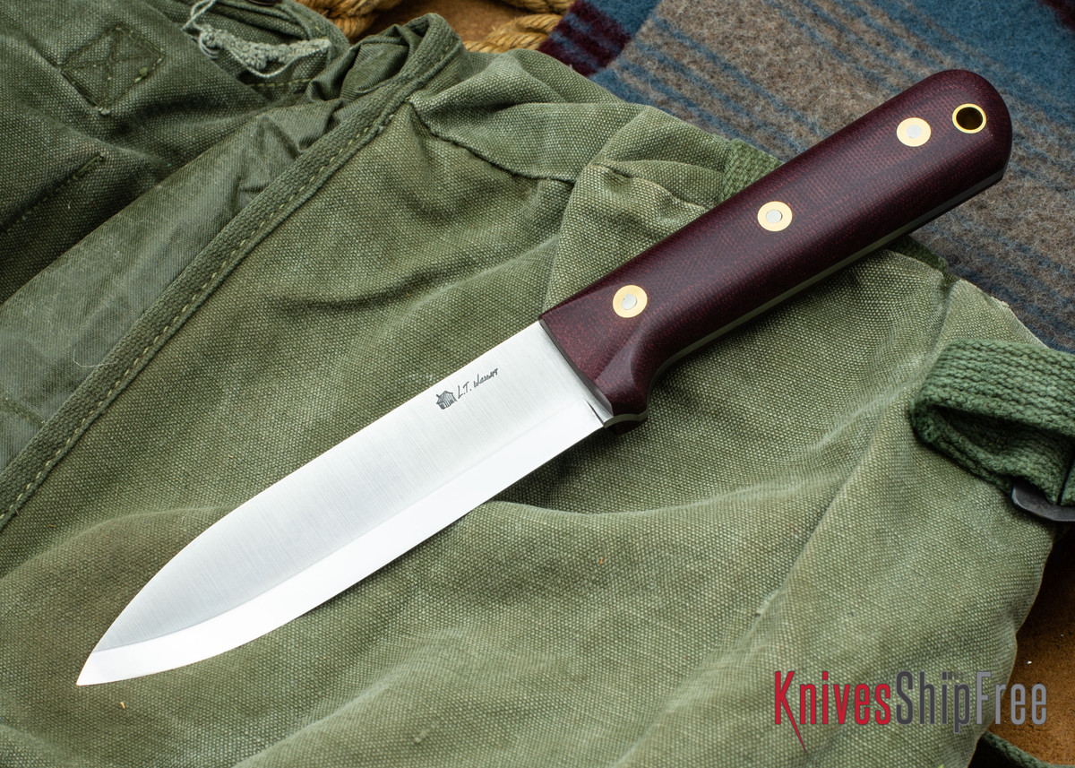 L.T. Wright Knives: Gen 5 - Scandi Grind - Double Red Micarta - Matte primary image