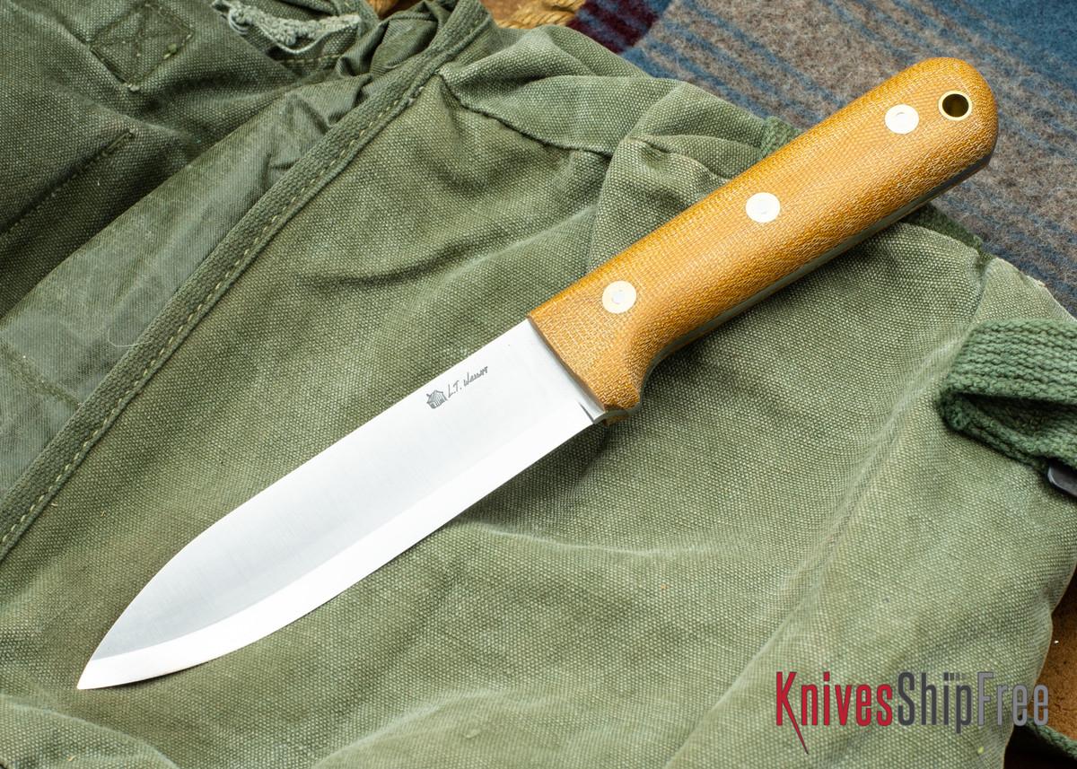 L.T. Wright Knives: Gen 5 - Scandi Grind - Natural Canvas Micarta - Matte primary image