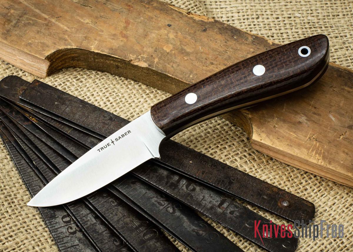 True Saber Knives: Ottawa - Tan Burlap Micarta - Black Liners primary image