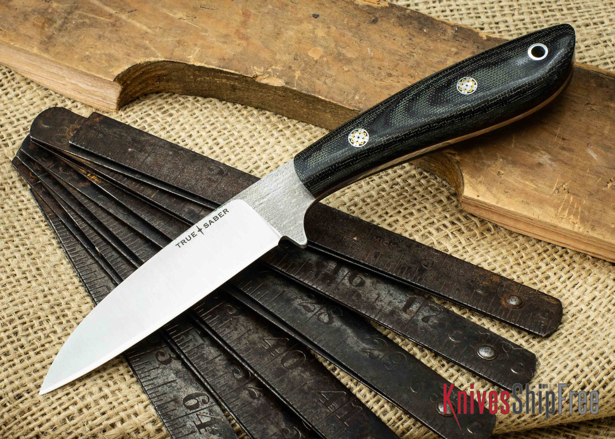 True Saber Knives: Chippewa - Flat Ground CPM-S35Vn - Wharncliffe - Black Canvas Micarta - Red Liners - Mosaic Pins primary image