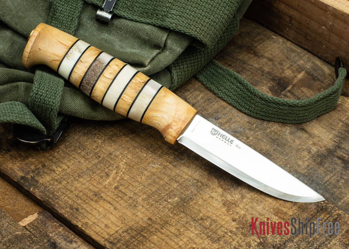"Helle Arv - 3.4"" Scandi Knife - Birch / Stacked Leather / Stag Antler 01 primary image"