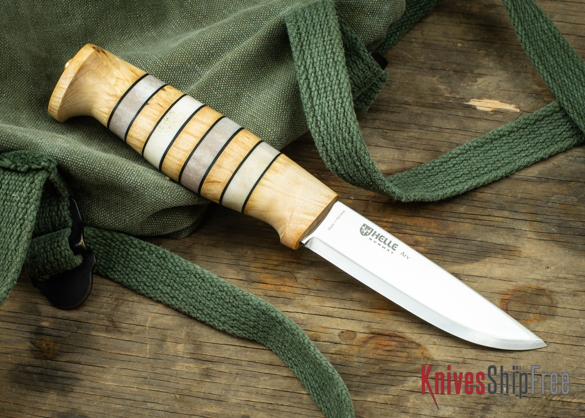 """Helle Arv - 3.4"""" Scandi Knife - Birch / Stacked Leather / Stag Antler 07 primary image"""