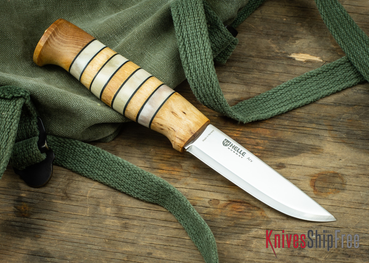 "Helle Arv - 3.4"" Scandi Knife - Birch / Stacked Leather / Stag Antler 08 primary image"