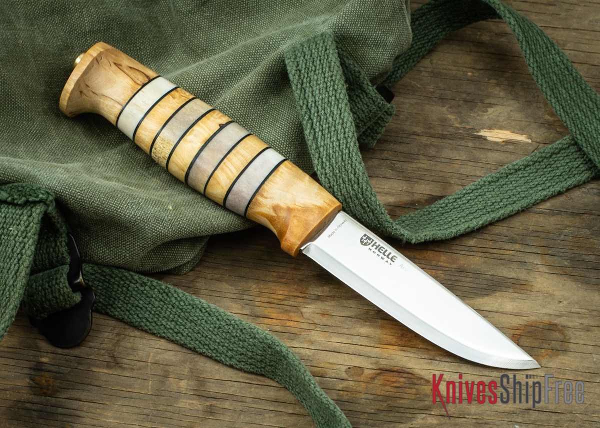 """Helle Arv - 3.4"""" Scandi Knife - Birch / Stacked Leather / Stag Antler 09 primary image"""