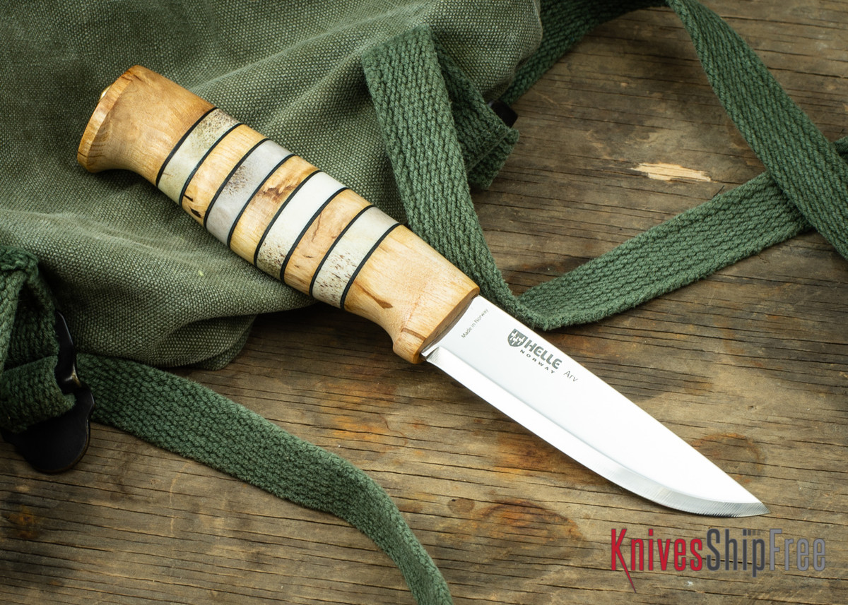 """Helle Arv - 3.4"""" Scandi Knife - Birch / Stacked Leather / Stag Antler 11 primary image"""
