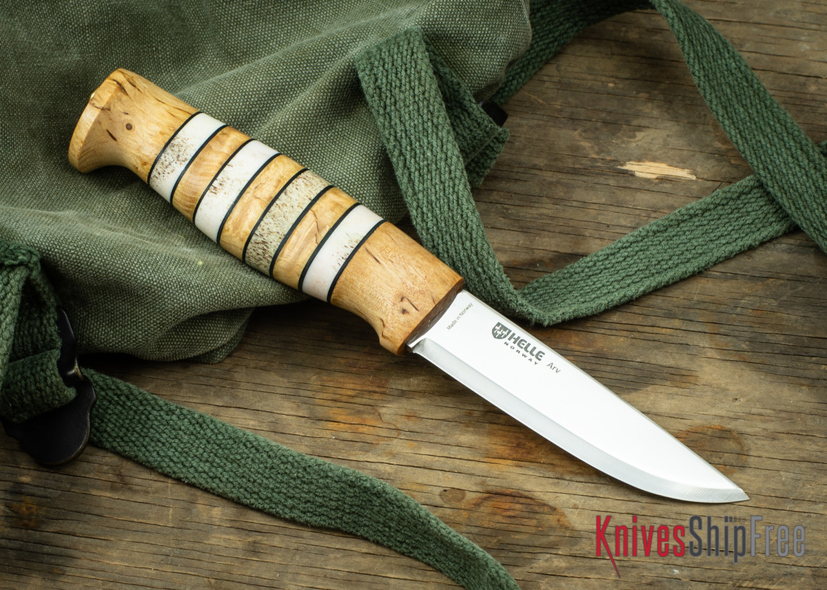 """Helle Arv - 3.4"""" Scandi Knife - Birch / Stacked Leather / Stag Antler 15 primary image"""