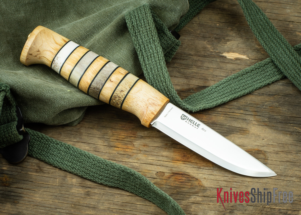 "Helle Arv - 3.4"" Scandi Knife - Birch / Stacked Leather / Stag Antler 16 primary image"
