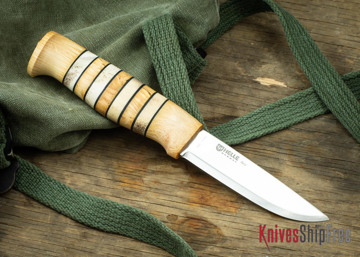 "Helle Arv - 3.4"" Scandi Knife - Birch / Stacked Leather / Stag Antler 17 primary image"