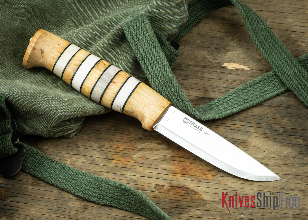 "Helle Arv - 3.4"" Scandi Knife - Birch / Stacked Leather / Stag Antler 18 primary image"