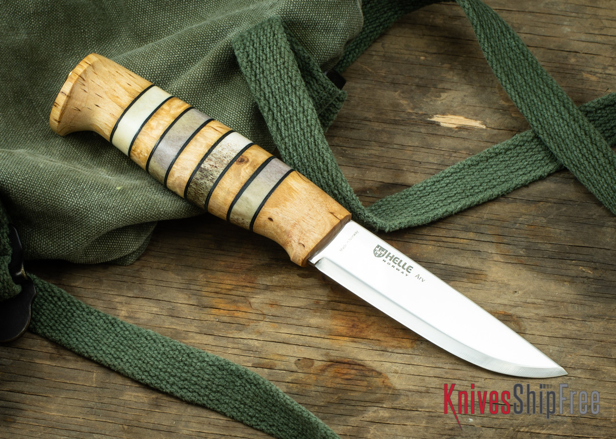 """Helle Arv - 3.4"""" Scandi Knife - Birch / Stacked Leather / Stag Antler 19 primary image"""