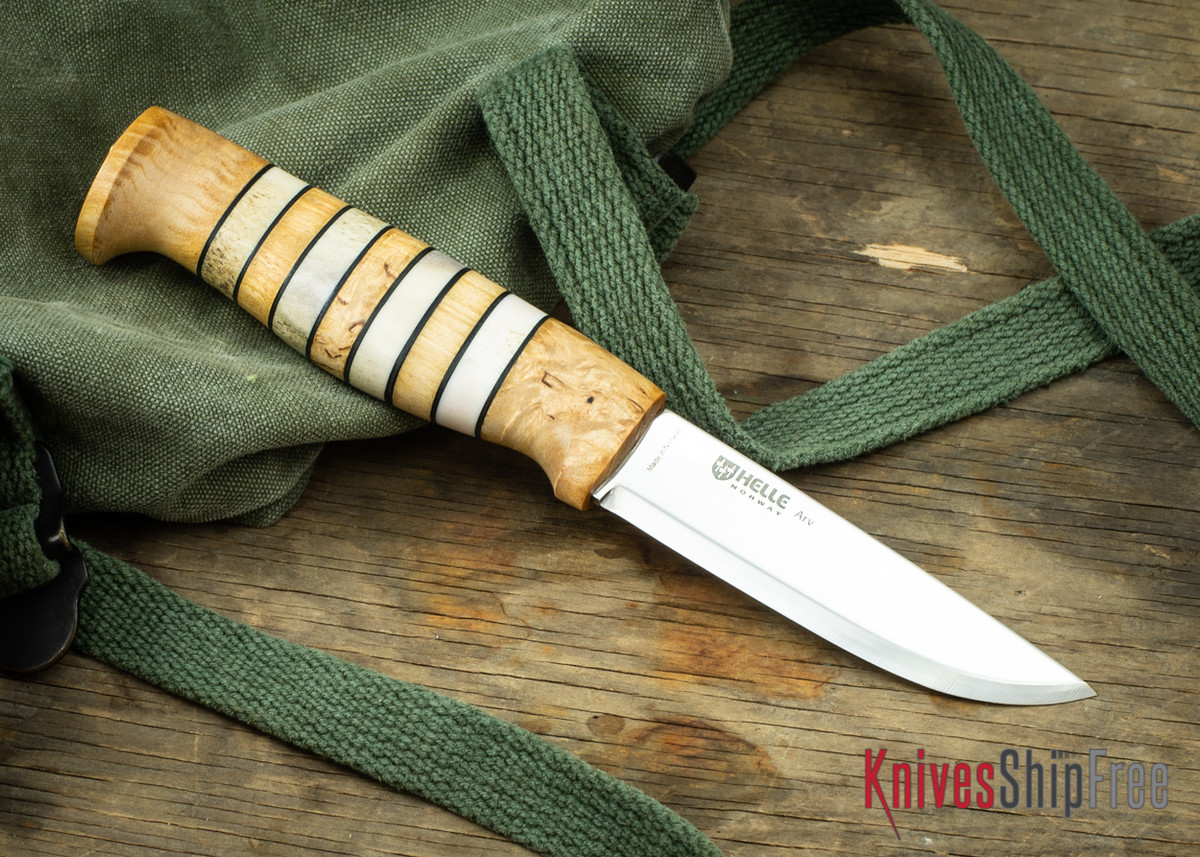 "Helle Arv - 3.4"" Scandi Knife - Birch / Stacked Leather / Stag Antler 20 primary image"