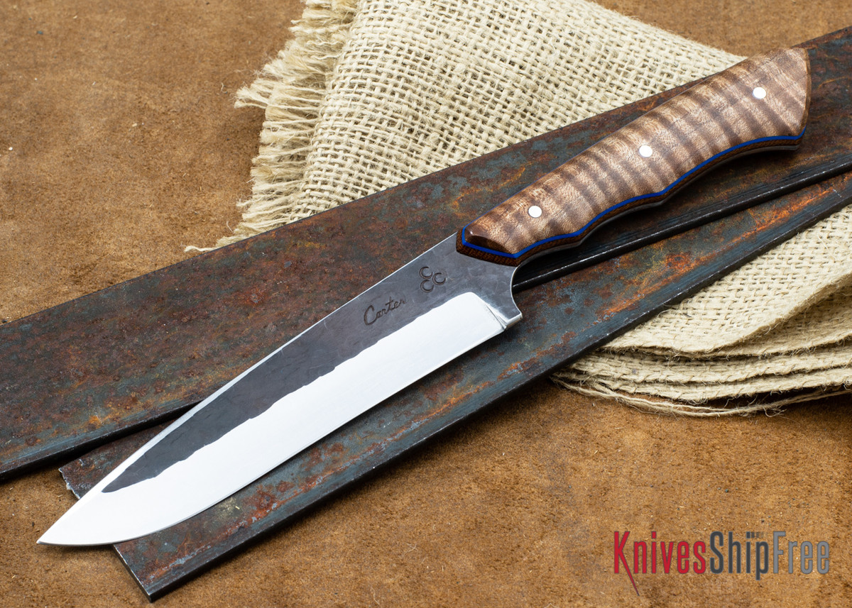 "Carter Cutlery: 5.39"" Carter #1519 FS1 - Curly Maple - Blue & Natural Liners primary image"