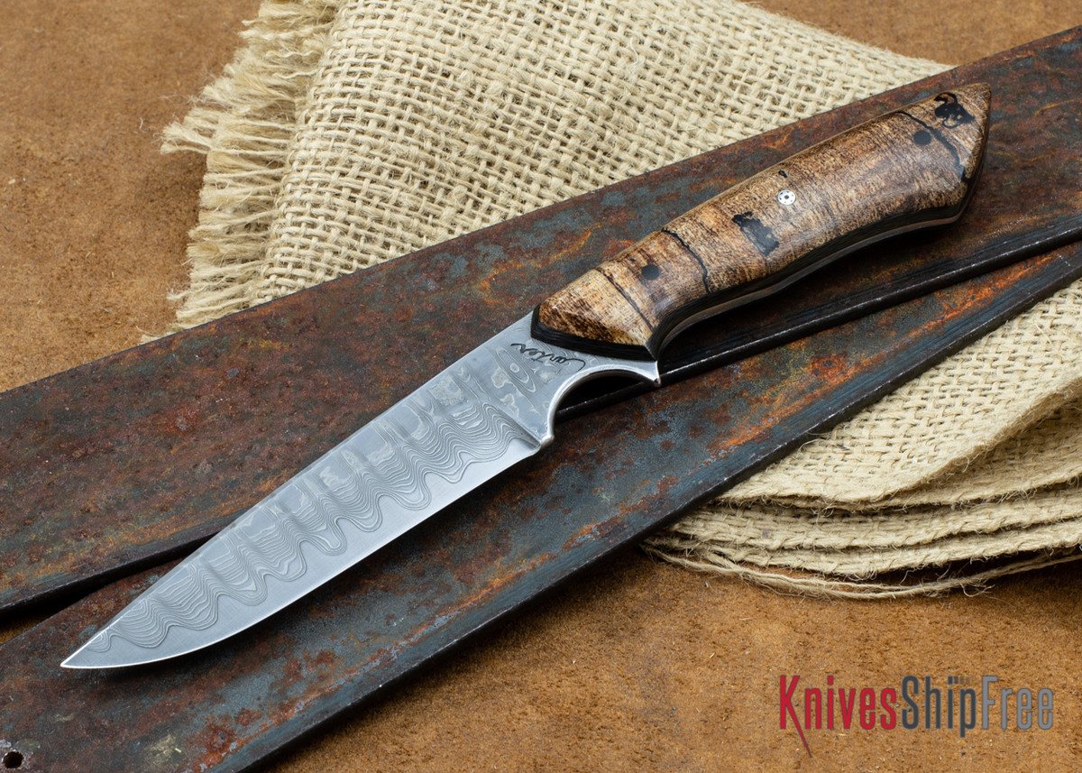 """Carter Cutlery: 4.09"""" Carter #1714 Damascus Tactical - Spalted Maple - Carbon Fiber Liners primary image"""