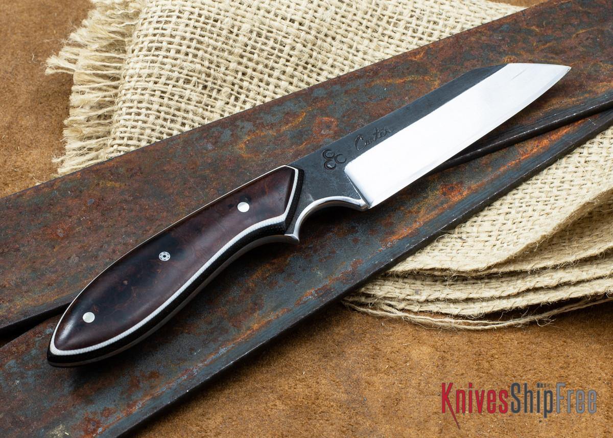 "Carter Cutlery: 3.66"" Carter #1651 Kataha Wharncliffe Brute - Desert Ironwood - White & Black Liners primary image"
