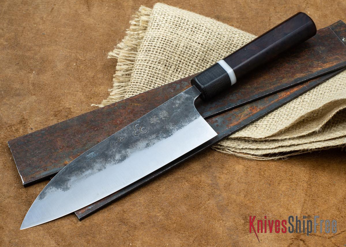 "Carter Cutlery: 6.77"" Carter #1484 Kurouchi Funayuki - Desert Ironwood - Black Micarta Bolster primary image"