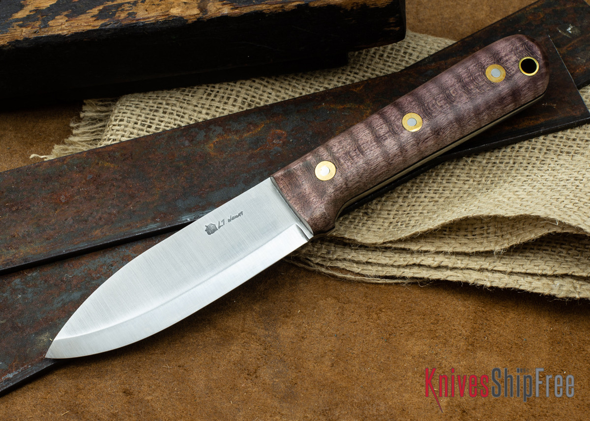 L.T. Wright Knives: Genesis - Scandi Grind - CPM 3V - Dark Curly Maple - Black Liners #5 primary image