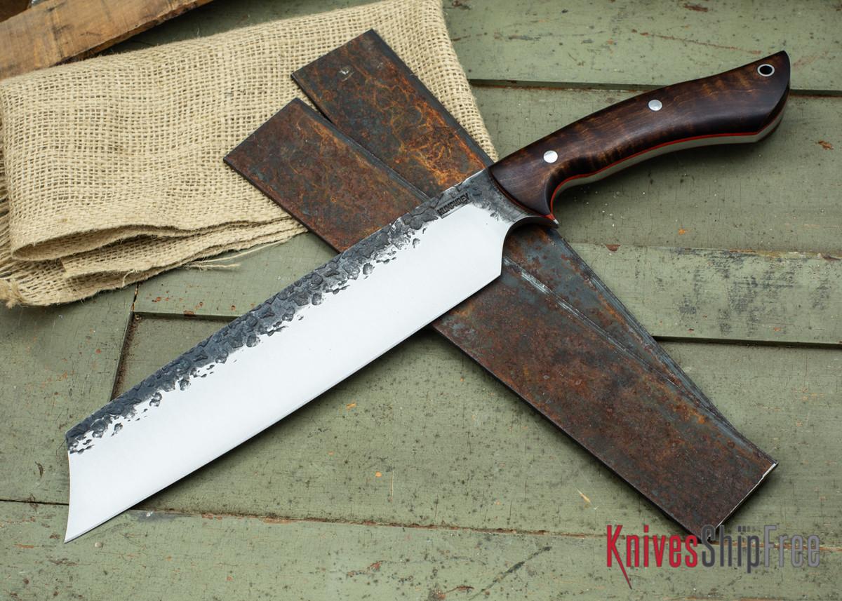 Lon Humphrey Knives: Retribution - Dark Curly Maple - Orange Liners - 034 primary image