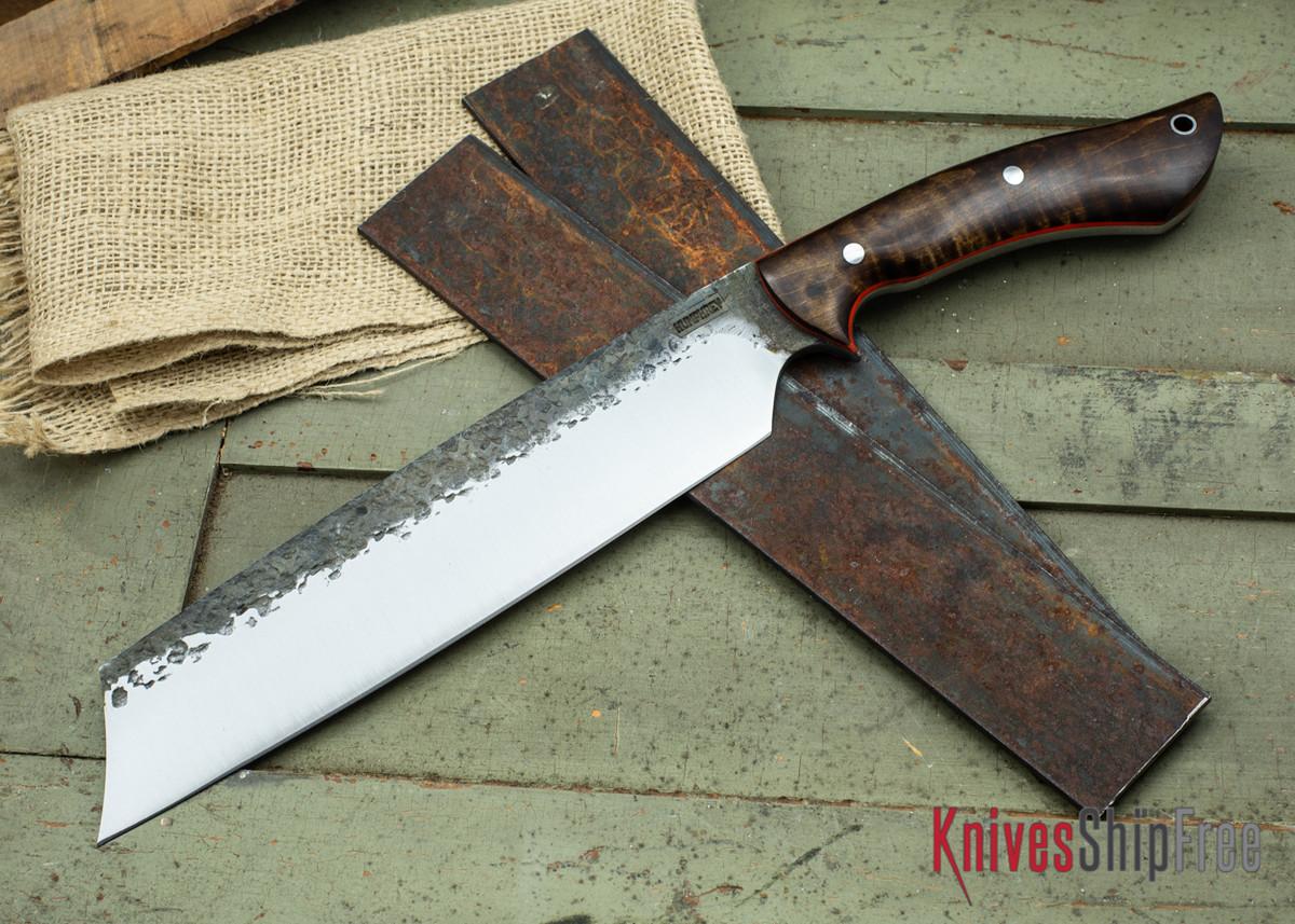 Lon Humphrey Knives: Retribution - Dark Curly Maple - Orange Liners - 035 primary image