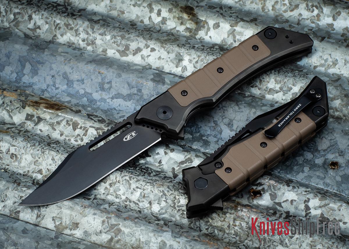 Zero Tolerance: 0223 - Tim Galyean Flipper - Titanium Framelock - Earth Brown G-10 Grip - CPM-20CV - Black DLC primary image