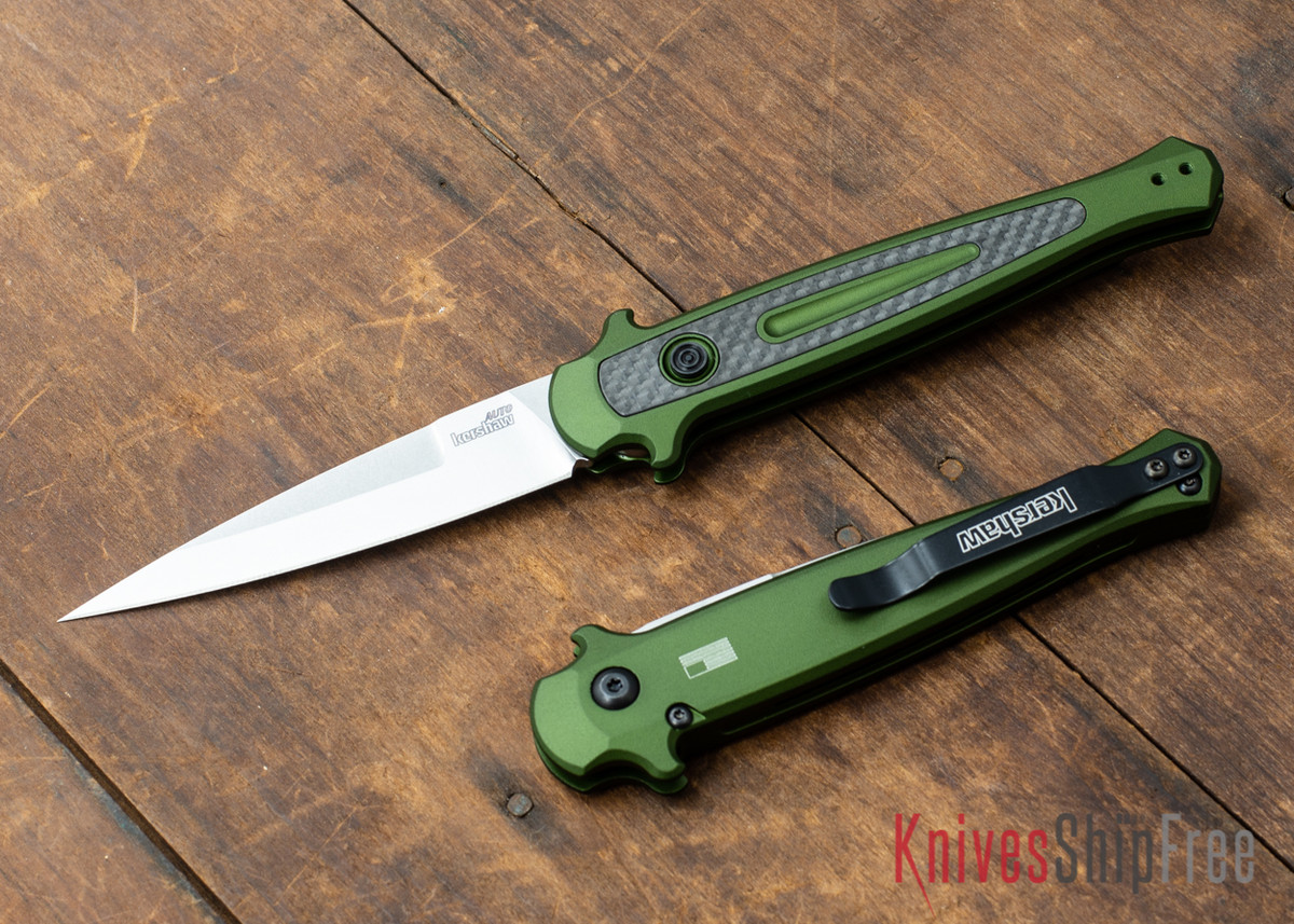 Kershaw Knives: Launch 8 Stiletto - Olive Green Aluminum - Carbon Fiber Inlay - CPM-154 - Stonewash - 7150OLSW primary image