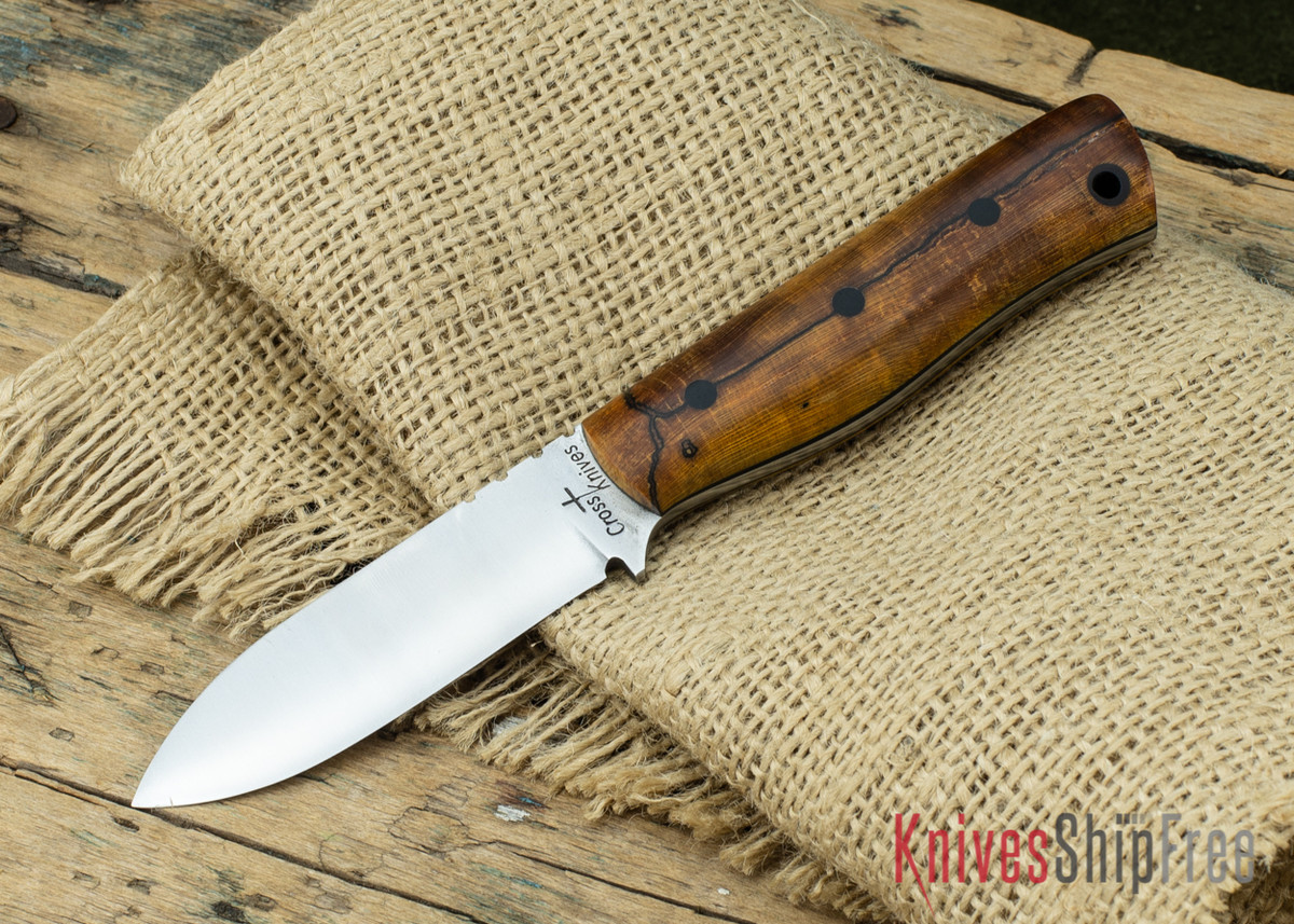 Cross Knives: Boys Bushcrafter - Spalted Maple - Black Pins & Liners primary image