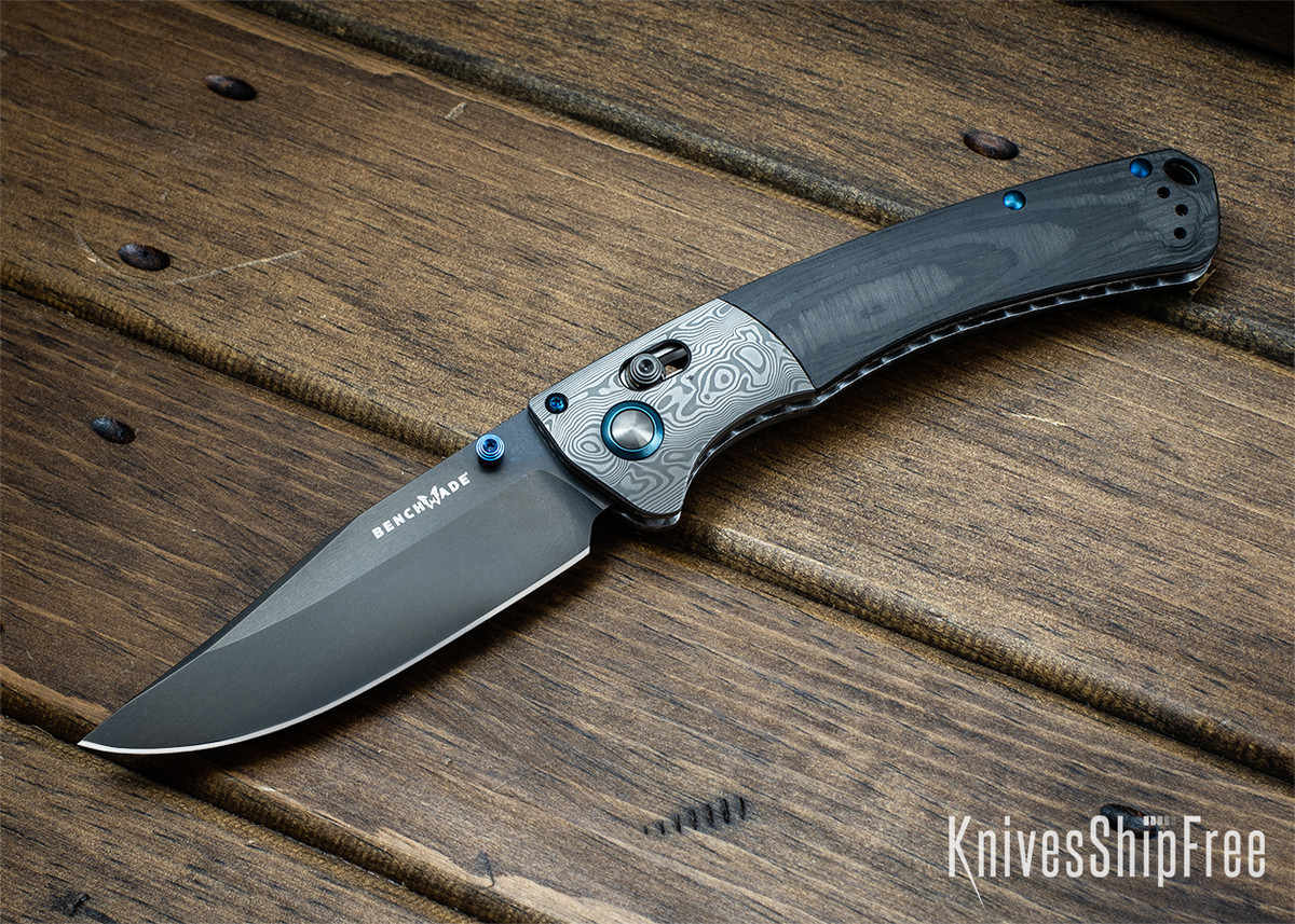 Benchmade Knives: Gold Class Crooked River - Carbon Fiber - Damasteel Bolster- CPM-20CV - Cracked Ice Hardware primary image