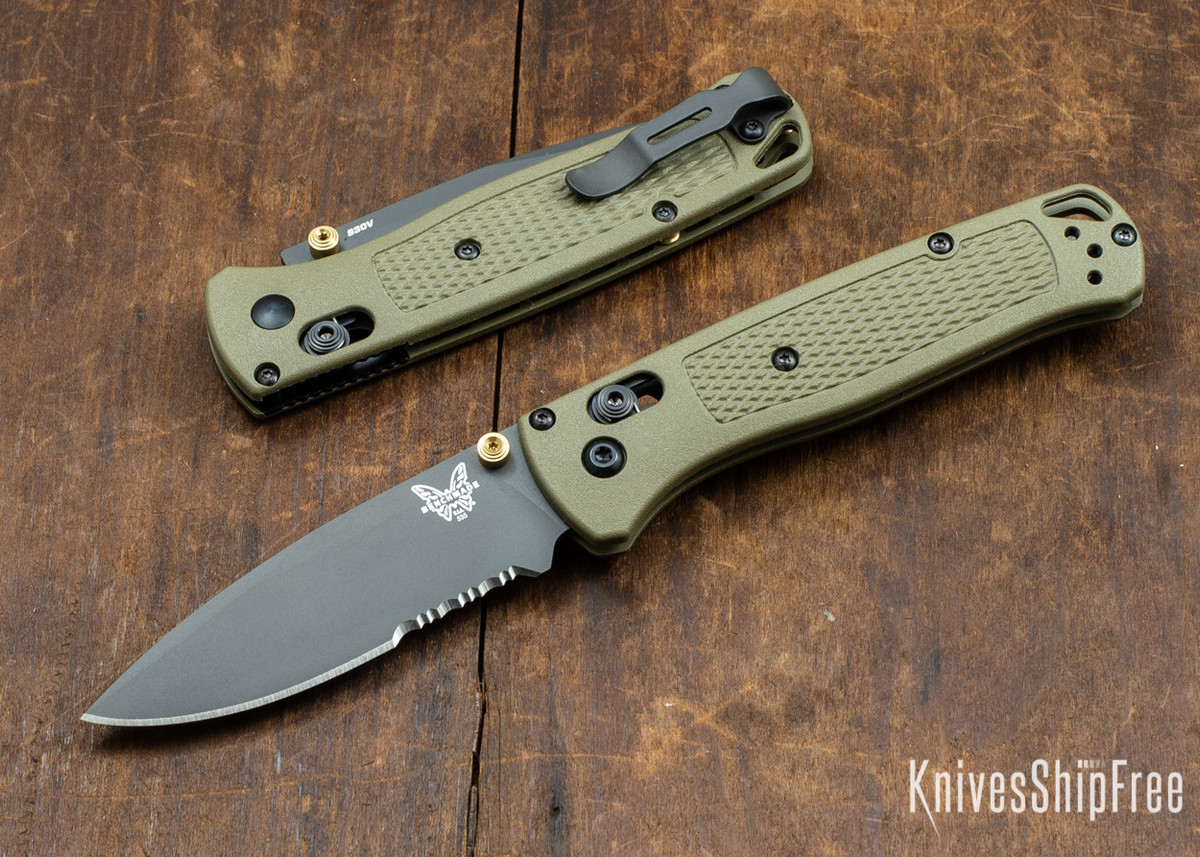 Benchmade Knives: 535SGRY-1 Bugout - AXIS Lock - Ranger Green - Serrations - Gray Coated CPM-S30V primary image