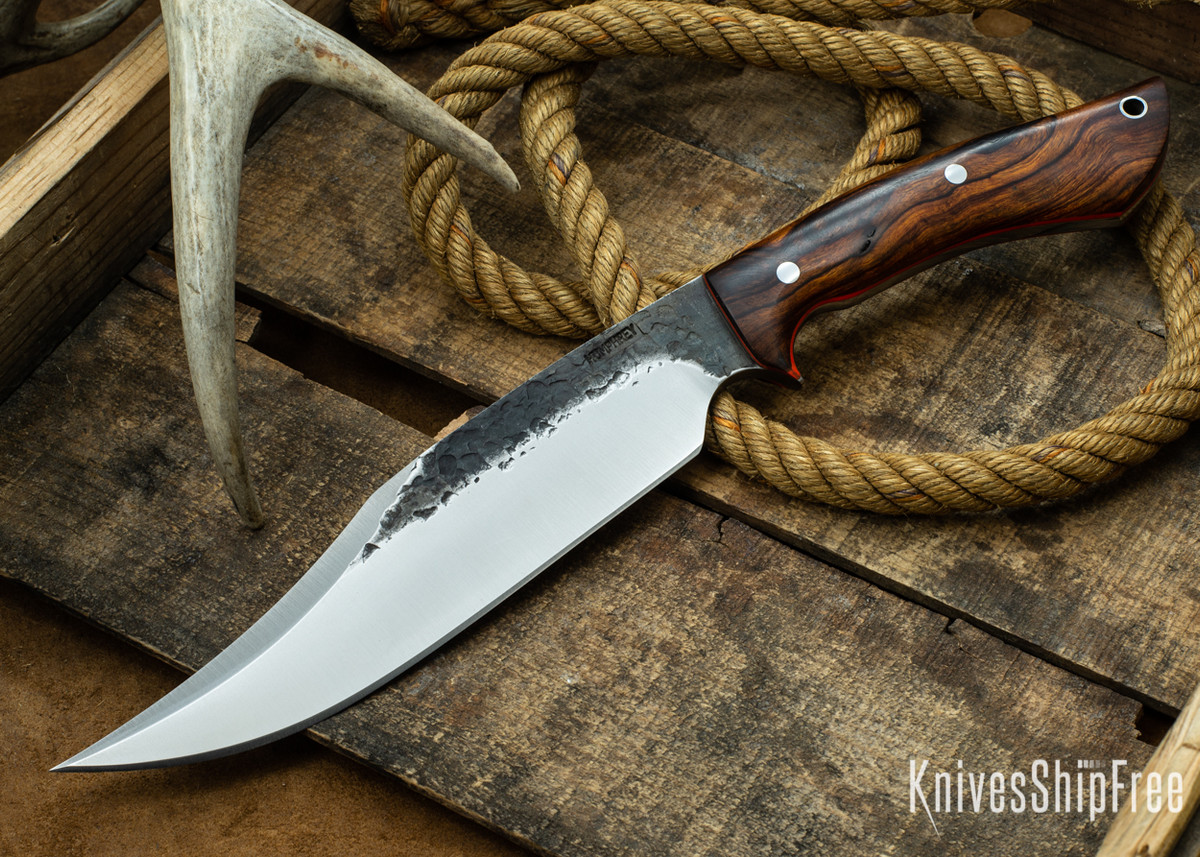 [Reserved] Lon Humphrey Knives: Gunfighter Bowie - Desert Ironwood - Orange Liners - 112201 (B.G.) primary image