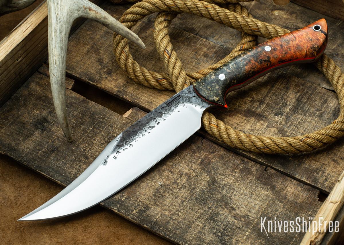 [Reserved] Lon Humphrey Knives: Gunfighter Bowie - Orange & Black Elder Burl - Orange Liners - A5 (P.L. 12/29) primary image