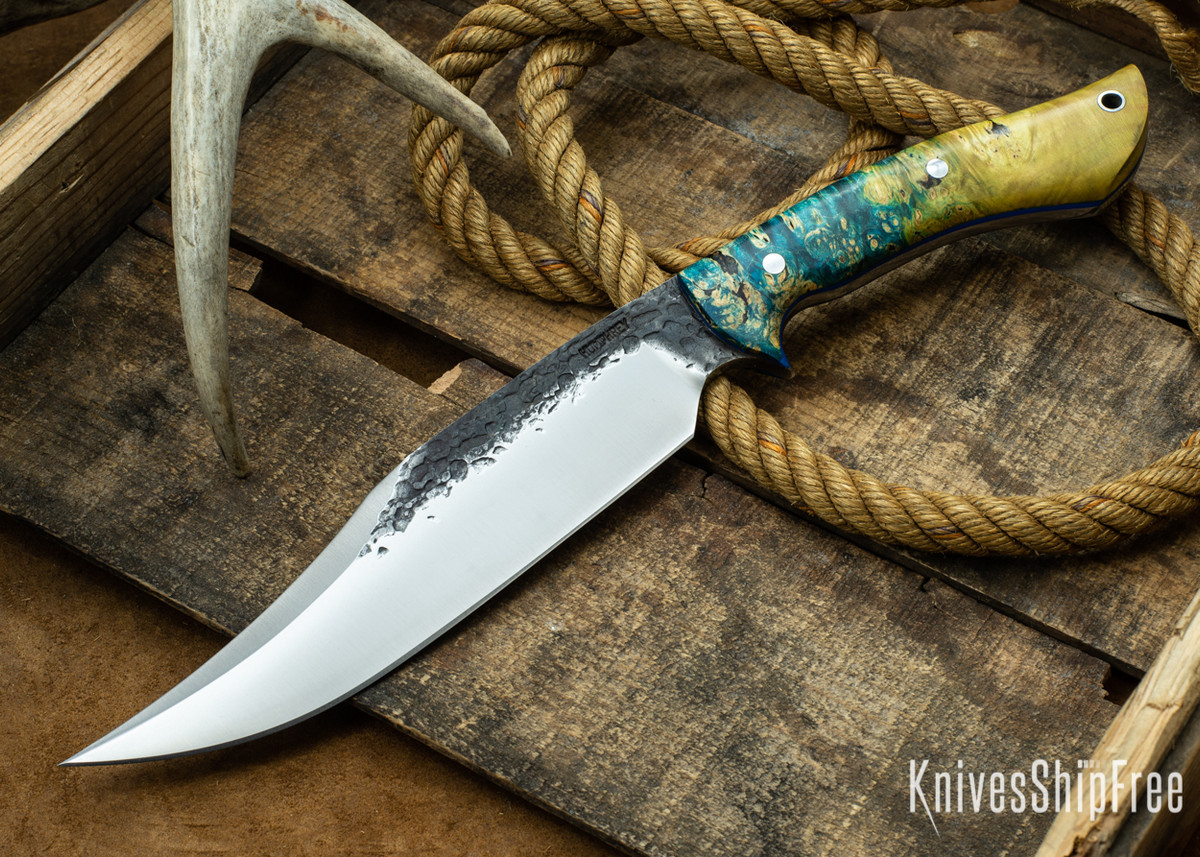 [Reserved] Lon Humphrey Knives: Gunfighter Bowie - Gold & Blue Elder Burl - Blue Liners - B5 (P.S.) primary image