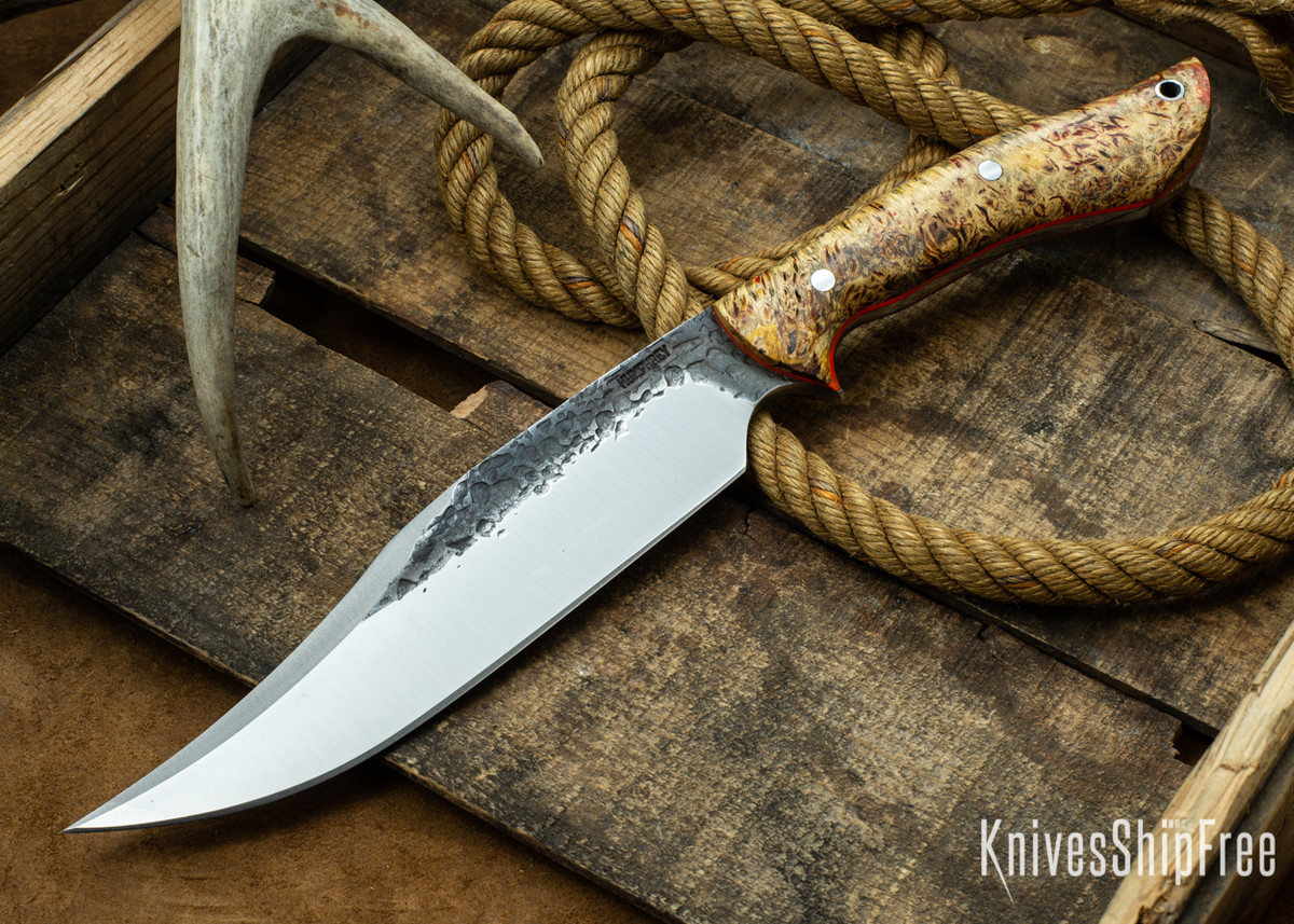 [Reserved] Lon Humphrey Knives: Gunfighter Bowie - Gold Red & Black Elder Burl - Orange Liners - C2 (Z.Z.) primary image