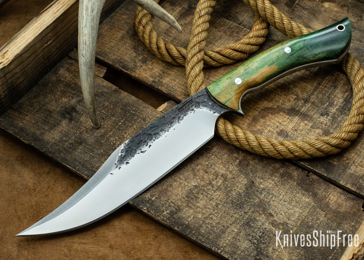 Lon Humphrey Knives: Gunfighter Bowie - Gold & Green Elder Burl - White Liners - 112342 primary image
