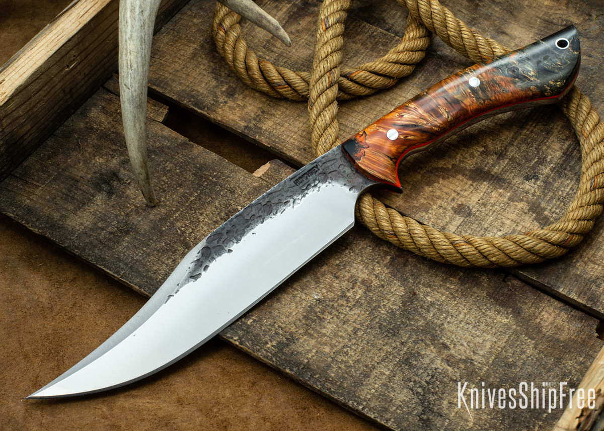 [Reserved] Lon Humphrey Knives: Gunfighter Bowie - Orange & Black Elder Burl - Orange Liners - 112350 (L.S.) primary image
