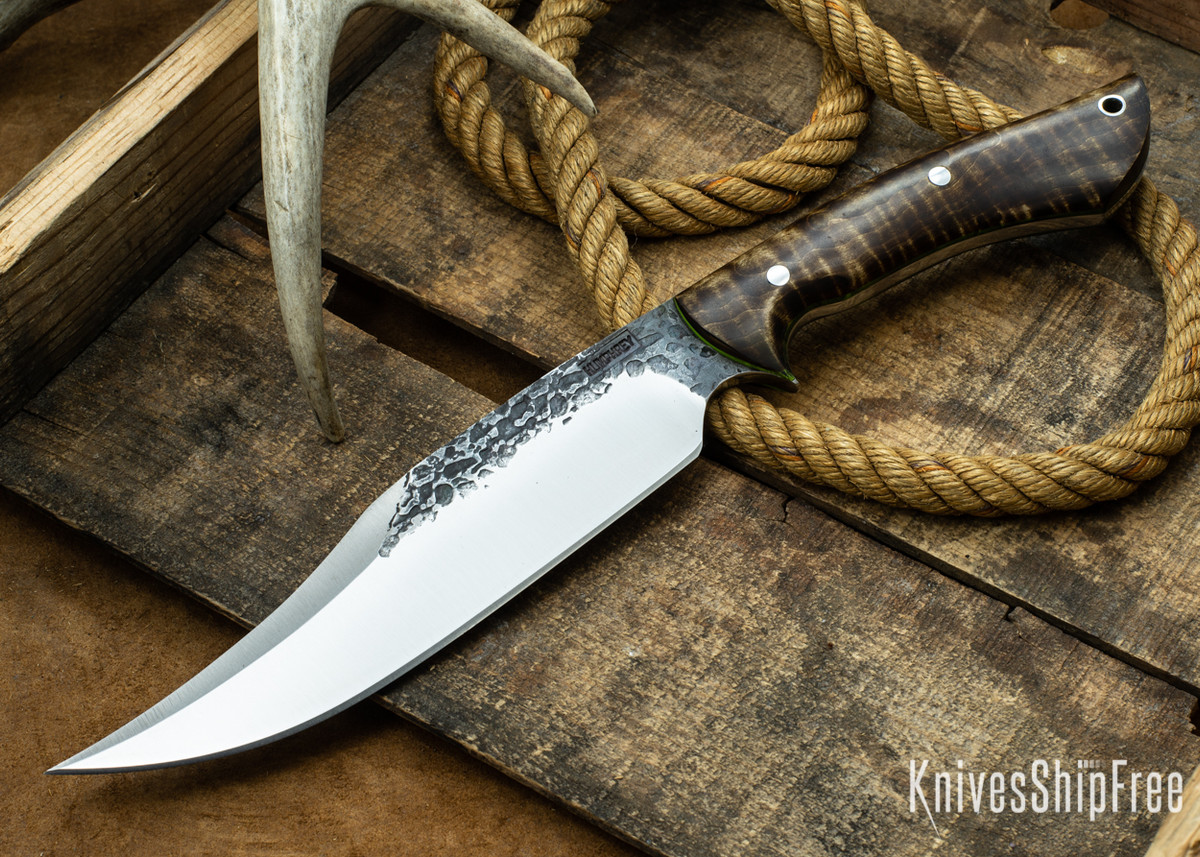 Lon Humphrey Knives: Gunfighter Bowie - Dark Curly Maple - Lime Green Liners - 112369 primary image