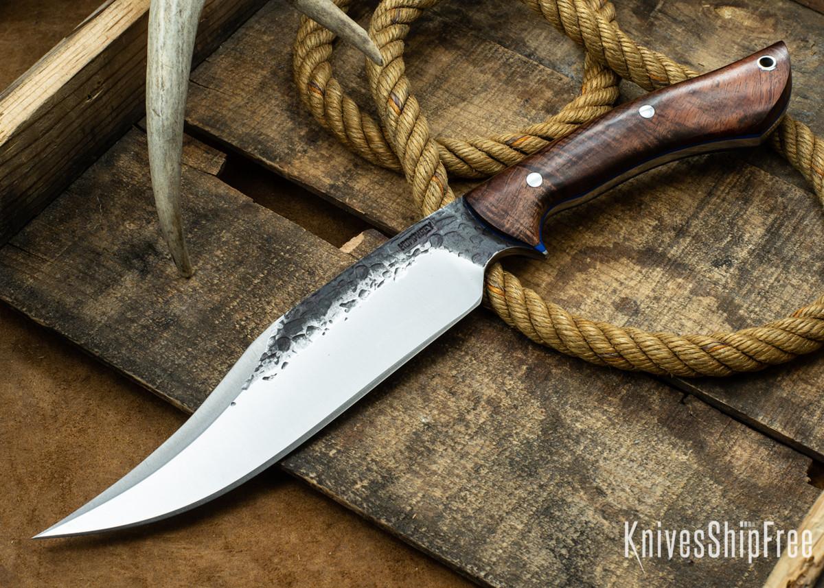Lon Humphrey Knives: Gunfighter Bowie - Tasmanian Blackwood - Blue Liners - 112389 primary image