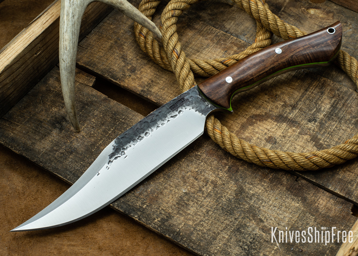 Lon Humphrey Knives: Gunfighter Bowie - Tasmanian Blackwood - Lime Green Liners - 112390 primary image