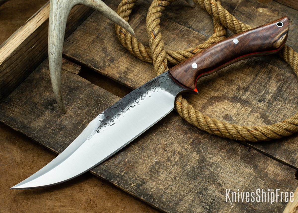 Lon Humphrey Knives: Gunfighter Bowie - Tasmanian Blackwood - Orange Liners - 112392 primary image