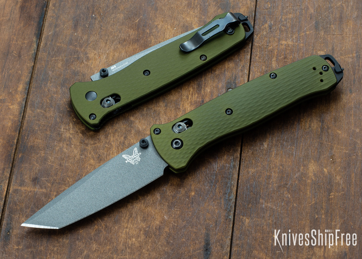 Benchmade Knives: 537GY-1 Bailout - CPM-M4 Tanto - Grey Cerakote - Woodland Green Aluminum primary image