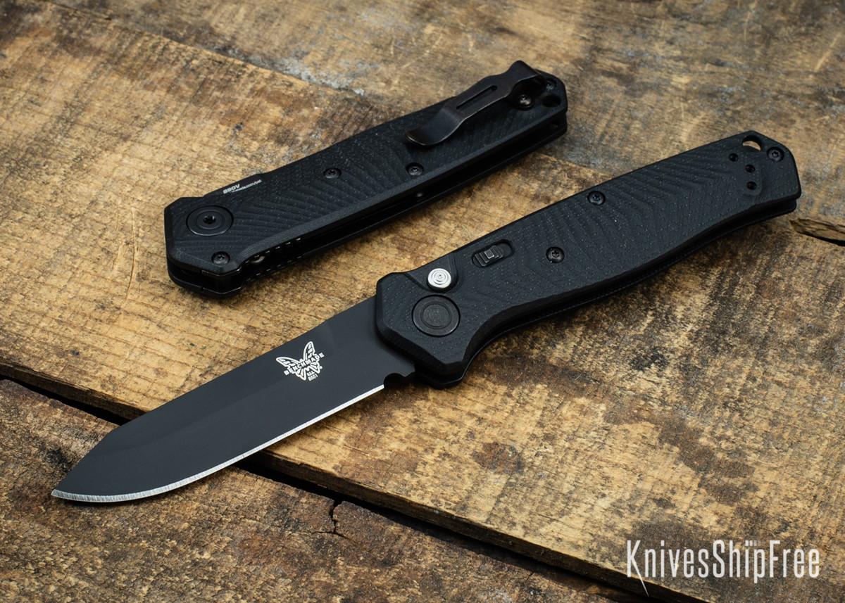 Benchmade Knives: 8551BK Mediator - Push Button Auto - Textured Black G-10 - CPM S90V - Black Cerakote primary image