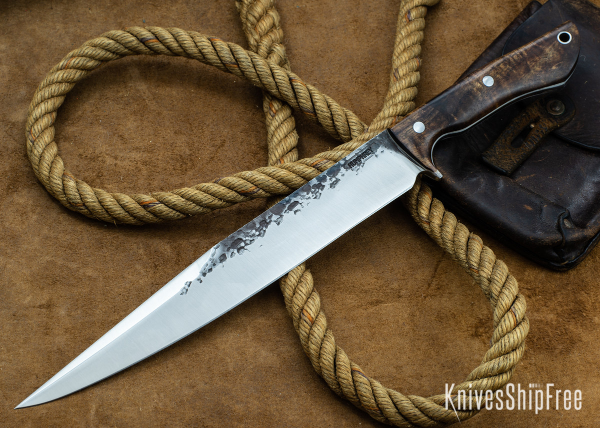 Lon Humphrey Knives: Bell Bowie - 52100 - Tasmanian Blackwood - White Liners - 030202 primary image