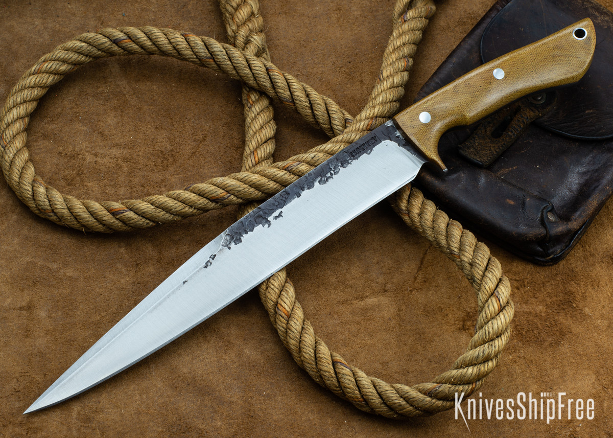 Lon Humphrey Knives: Bell Bowie - 52100 - Natural Micarta - 030218 primary image