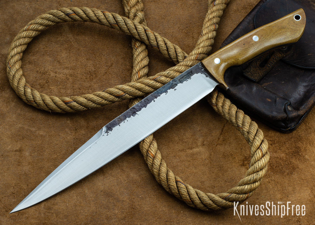 Lon Humphrey Knives: Bell Bowie - 52100 - Natural Micarta - 030219 primary image