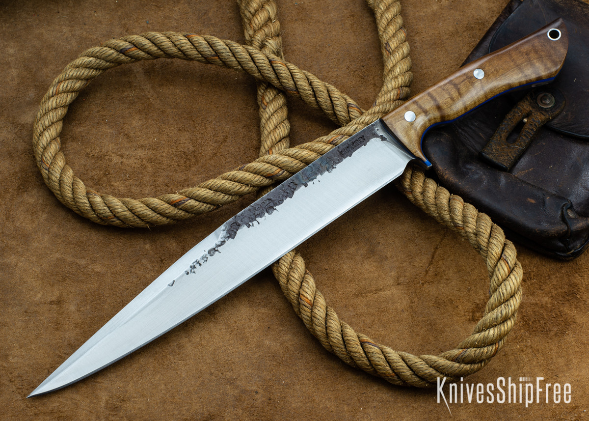 Lon Humphrey Knives: Bell Bowie - 52100 - Dark Curly Maple - Blue Liners - 030240 primary image