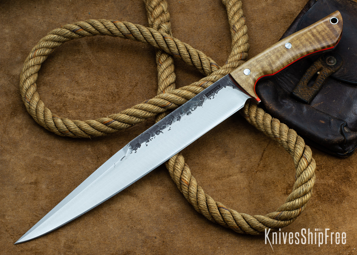 Lon Humphrey Knives: Bell Bowie - 52100 - Dark Curly Maple - Orange Liners - 030242 primary image